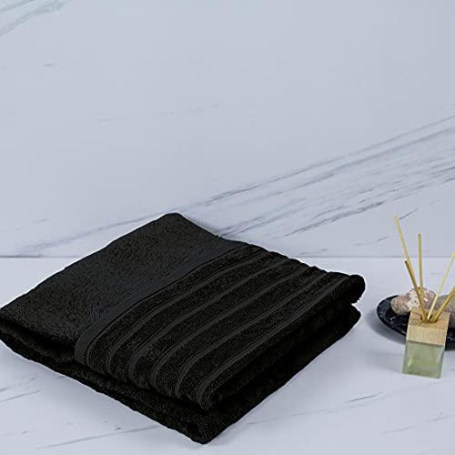 Toallas Colección Purpura Home 500gr. algodón Peinado Toallas de baño | Manos, Cara, Gimnasio y SPA (Negro, Pack 4 Unidades Tocador 30X50)