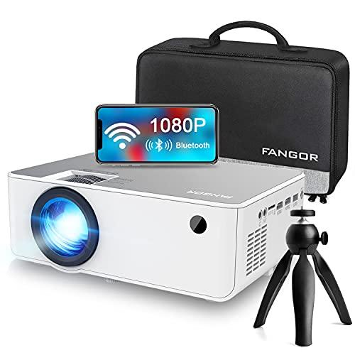 FANGOR プロジェクター 9000ルーメン ネイティブ解像度1080P スマホをミラーリング可能 bluetooth5.0対応 小型 フルHD対応 230インチ大画面 ホームプロジェクター スマホ/ダブレット/パソコン/ゲーム機/DVDプレーヤーに対応 メーカー3年保証