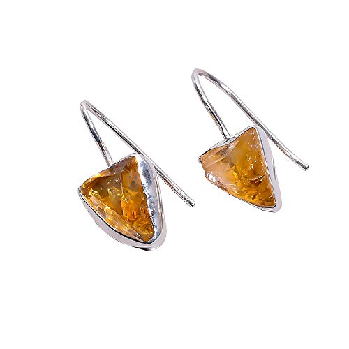 925 Sterling Silver Earrings, Natural Raw Citrine Handcrafted Women Jewelry RSE1289