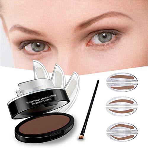 JYang Tampon à sourcils étanche, kit de joint de tampon de poudre à sourcils avec brosse à sourcils avec 3pcs moule à sourcils (Bright brown)