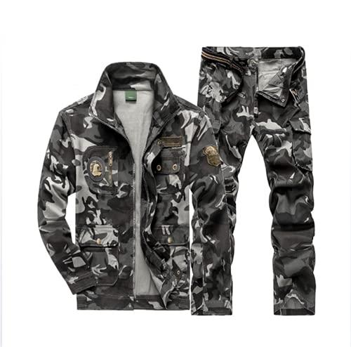 NHY Tarjeta de algodón Espesa de Llama Retardante antisaldante, Chaqueta de Soldadura,Gray Camouflage,L