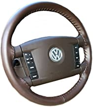 product image for Wheelskins Genuine Leather Brown Steering Wheel Cover Compatible with Volkswagen Vehicles -Size BX
