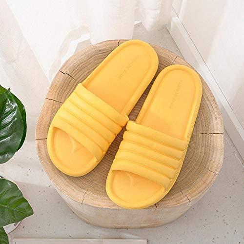 Verano Mujer Zapatillas De Interior Piso Zapatos Planos Interior Eva Chanclas Mujer Antideslizante Baño Casa Zapatillas De Hombre-Amarillo, 39