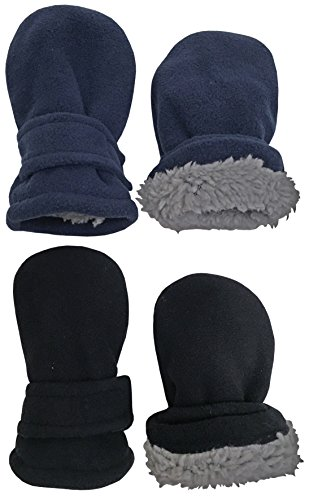 N'Ice Caps Little Kids and Baby Easy-On Sherpa Lined Fleece Mittens - 2 Pair Pack (Black/Navy Pack - Infant No Thumbs, 6-18 Months)