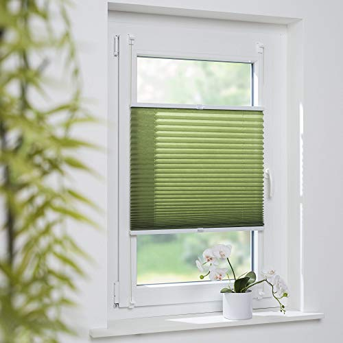 Cocoon Klemmfix-Plissee Plissee verspannt Fenstervorhang Faltvorhang Klemmträgermontage ohne Bohren | grün | 45 x 130 cm