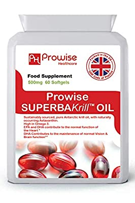 Superba Krill Oil 500mg 60 Softgels - 1000mg Per Serving - High Grade Pure Antarctic Sourced Red Krill Providing a Rich Source of Omega - UK Manufactured   GMP Standards by Prowise Healthcare