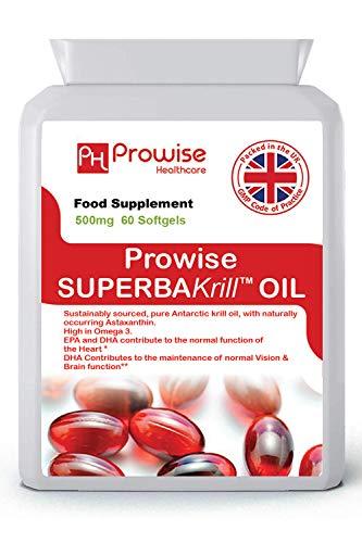 Superba Krill Oil 500 mg 60 cápsulas blandas - 1000 mg por porción - Krill rojo puro de origen antártico de alto grado que proporciona una rica fuente de omega - Fabricado en el Reino Unido | Estándares GMP de Prowise Healthcare