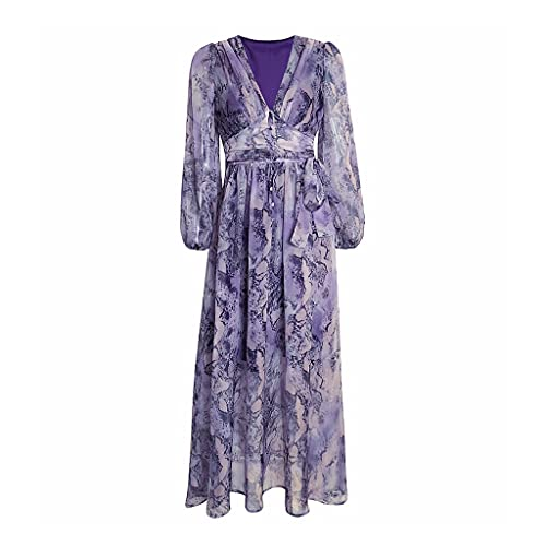 Uxzztt Vestido Estampado de Gasa Mujer Cintura Retro Camisa de Manga Tres Cuartos Vestido Suelto Vestido de Playa Bohemio (Color : Purple, Size : Small)