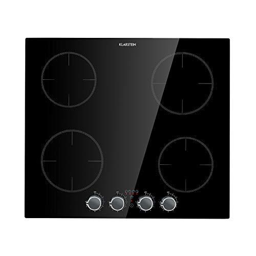 KLARSTEIN Kochheld - plaque à induction, plaque de cuisson intégrée, commande rotative, câble 120 cm, connecteur à broches, 9 niveaux, arrêt automatique, verre, noir - 6000 watts