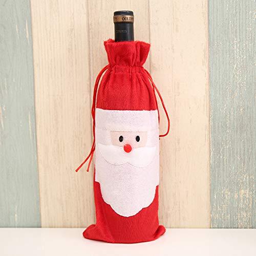 WWLIN 10 Uds Cubierta de Botella de Navidad Bolsas de Botella de Vino decoración Cubierta de Vino de Navidad Decoraciones de Vino
