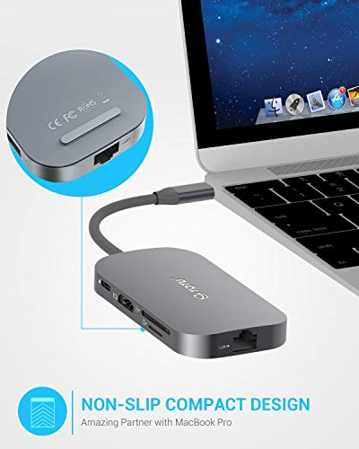 Usb c hub, totu 9-in-1 type c hub with ethernet port, 4k usb c to hdmi, 2 usb 3. 0 ports, 1 usb 2. 0 port, sd/tf card reader, usb-c power delivery, portable for mac pro and other type c laptops (silver) 7 multiport connection: totu usb c hub includes 1 ethernet/rj-45 port, 1 usb type-c female pd charging port, 1 hdmi port, 1 tf sd card slot, 1 sd card slot, 1 usb 2. 0 type a port, 2 usb 3. 0 type a ports. This usb c hub applies to all type-c laptops. Effortless data transfer: connect to your smartphone, tablet, hard drive or other usb peripheral via the usb 3. 0 ports and transfer date between computer and connected device, the usb 2. 0 port is better with mouse, keyboard or other low rate devices. Built in sd and tf slots for easy access to files from universal sd and micro sd memory card; support 2 cards reading simultaneously. 1000mbps ethernet port ensures a more stable and faster wired network connection. Power delivery: support pd charging at max 87w, this multiport usb c adapter provides one type-c pass through female port by which you could securely charge connected macbook or other type-c laptops.
