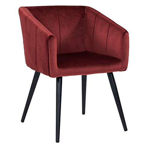 Esszimmerstuhl aus Stoff (Samt) Farbauswahl Retro Design Stuhl mit Rückenlehne Sessel Metallbeine Duhome 8065, Farbe:Rot, Material:Samt