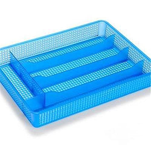 Vobajf Bandeja de Organizador de cajones Cajón de Cocina Cubiertos Utensilios Organizador Malla Bandeja 5 Compartimentos Bandejas de Cubiertos (Color : Azul, Size : 31x28x4.5cm)