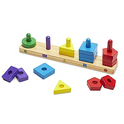 Melissa & Doug Stack and Sort Board - Wooden Educational Toy With 15 Solid Wood Pieces Red, Blue, Yellow, Green, Brown