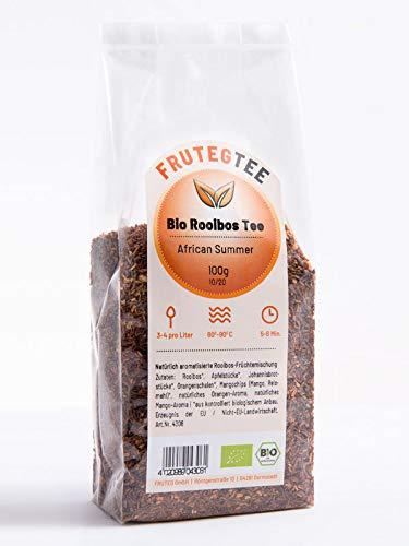 FRUTEG Bio Rooibos-Tee African Summer 1000 g I loser Bio Rotbuschtee - feinste Blatt-Qualität I Exotischer Geschmack nach Orange & Mango I Aus kontrolliert biologischem Anbau I 1 kg