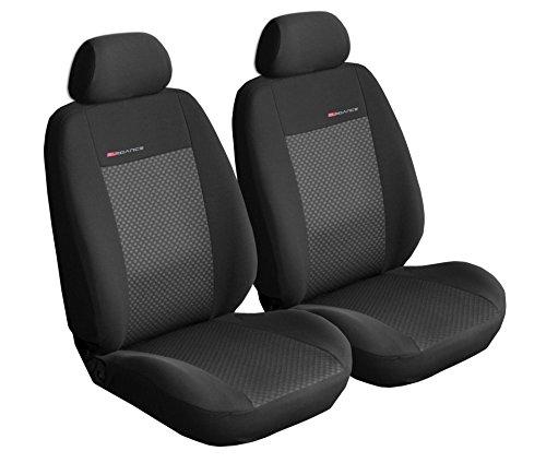 Carpendo Sitzbezüge Auto Vordersitze Autositzbezüge Schonbezüge Vorne Dunkelgrau-Grau Seitenairbag geeignet - Elegance P3