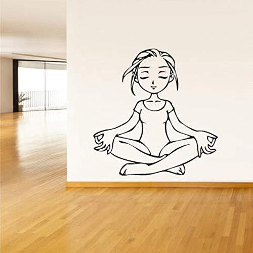 Tianpengyuanshuai Yoga Relax Wandtattoo Vinyl Wandaufkleber Fitnessraum Kunst 36X36cm
