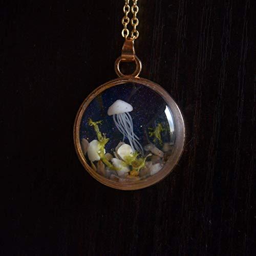 Qualle Stereoskopisch Meeresboden Unterseeisch Seetang Sternenhimmel Glas 18K Vergoldet Halsketten mit Anhänger