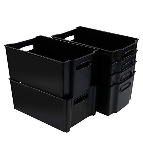 Tyminin Stapelbare Aufbewahrungsboxen für Gefrierschrank, Kunststoff, Schwarz, 6 Stück