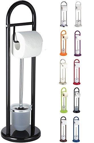 SANWOOD WC-Bürstengarnitur mit Papierrollenhalter, Metall, schwarz, 19 x 63 x 19 cm