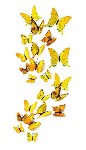 MissBirdler 24 Stk. Gelbe Schmetterlinge 3D Effekt Kühlschrank Schmetterling Magnet mit Klebepunkten Wandtattoo Wand Fenster Aufkleber Dekoration Wohnzimmer Schlafzimmer Deko Wandsticker Wandaufkleber