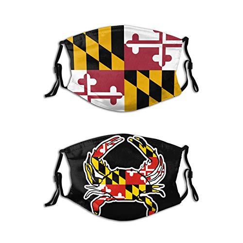Laiputer Maryland State Flag Patriotic 2pcs Face Mask With Filter Pocket Washable Face Bandanas Balaclava Reusable Fabric Masks Men Women