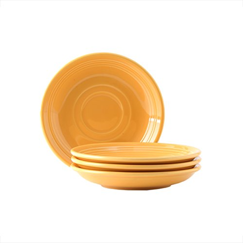 Tuxton Home Concentrix Saucer (Set of 4), 6', Saffron Yellow; Heavy Duty; Chip Resistant; Lead and Cadmium Free; Freezer to Oven Safe up to 500F