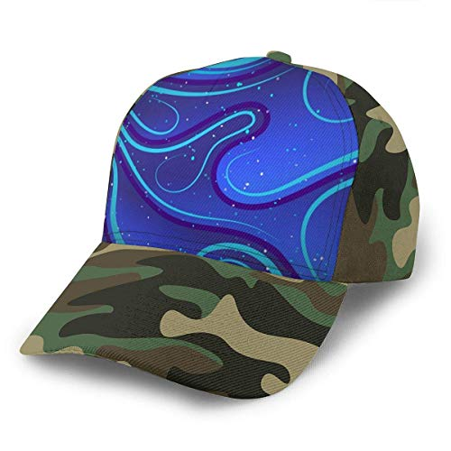 Miss Yan Blue Abstrakte Linien Tapeten (44) Gebogene Krempe Dacron Baseball Cap Casual Denim Hip Hop Caps Snapback Caps Hat Gr. One size, moosgrün