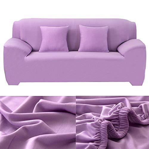WAXCC Fodere per divani copridivano in Tinta Unita Copridivano elasticizzato Elastico Moderno universale per soggiorno in fodera per divano, 15, Viola Chiaro, fodere per cuscino 2 pezzi