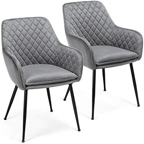 Yaheetech 2x Esszimmerstühle Wohnzimmerstuhl Küchenstuhl Polsterstuhl Sessel mit Armlehne Sitzfläche aus Samt Metallbeine Grau Belastbarkeit 120 kg