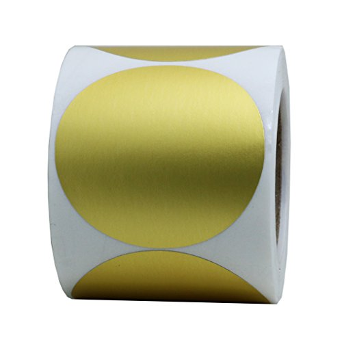 Hybsk Gold Labels 2' Round Color Coding Dots Stickers Adhesive Label 300 Per Roll (Gold)