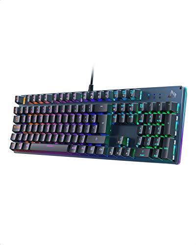Teclado Mecánico, Teclados Gaming con Retroiluminación RGB e Anti-Efecto Rojo Fantasma de 105 Teclas, Teclado Español para Juegocon Cable USB y Cuerpo de Acero para PC y Portátil