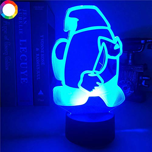 Among us Game 3D Illusion Night Lights Seven Colors Remote Control Table Decor LED Sensor Lights Bedside Atmosphere Night Lamps