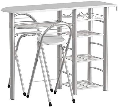 Inter Link Ensemble Table de bar & tabourets panneaux de particules blanc brillant et métal gris alu