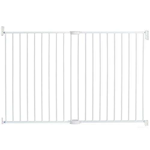 """Munchkin Extending XL Tall and Wide Baby Gate, Hardware Mounted Safety Gate for Stairs, Hallways and Doors, Extends 33"""" - 56"""" Wide, Metal, White"""
