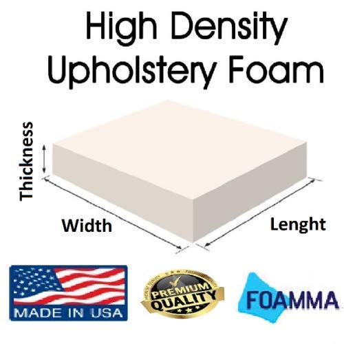 FOAMMA 1' x 24' x 72' High Density Upholstery Foam Cushion,Seat Replacement, Upholstery Sheet, Foam Padding Made in USA!!!