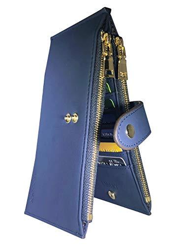 USSSKY Womens Wallet RFID Blocking Bifold Multi Card Case Wallet with Zipper Pocket (Chelsea Blue Deep)