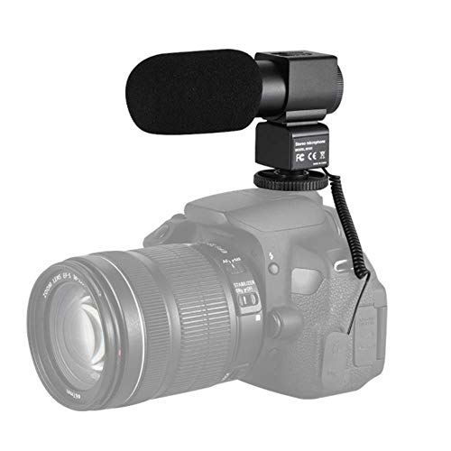 YWT Stereo Mikrofon hinten Elektret Kondensator Mikrofon, Video Aufnahme Interview mit Mikrofon mit Windschutzscheibe, passend für Canon Nikon Sony