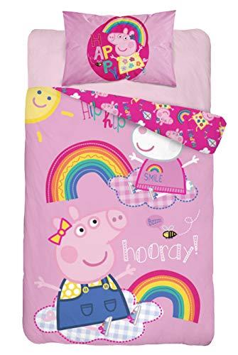 Baby Bettwäsche Set 2tlg. 100% Baumwolle Größe: 100x135 cm, 40x60 cm, ÖkoTex Standard 100 (Peppa Hooray)