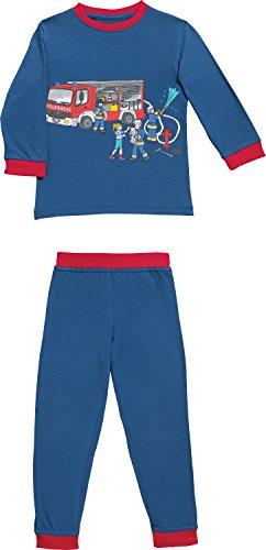 Erwin Müller Kinder-Schlafanzug, Pyjama Feuerwehr Single-Jersey Marine/rot Größe 122/128-100% Baumwolle, hautfreundlich, mit Rundumgummizug