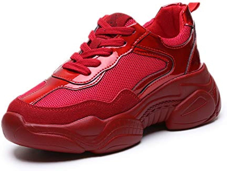 HOESCZS Spring Platform Damenschuhe Nubukleder Freizeitschuhe Sportschuhe Rote Schuhe