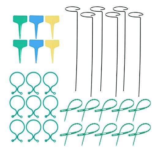 Cabilock 32 Stück Pflanzenstütze Ringe Ringe Gartenpflanze Stütze Clips Schlösser Krawatten Stütze Pfahl für Tomaten Orchidee Lilie Pfingstrose Rosenblüte Stiel Rack Halterung