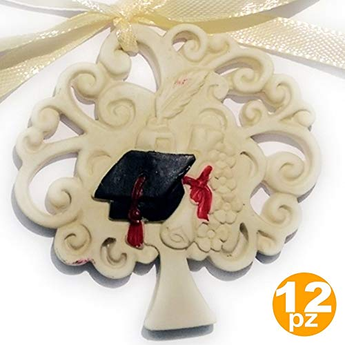 TrAdE Shop Traesio BOMBONIERA Albero della Vita Laurea Cappello Piuma CALAMAIO Ceramica APPENDINO