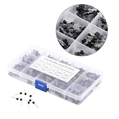 600Pcs 15 Kinds of Values X 40 Pcs NPN PNP Transistor TO-92 Kit Set with Plastic Box