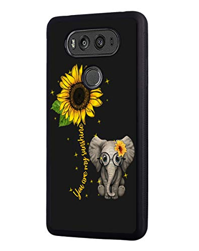 Case for LG V30 / LG V30 Plus/LG V30s / LG V35 / LG V35 ThinQ, Slim Anti-Scratch TPU Rubber Protective Case Cover for LG V30 - Sunflower and Elephant