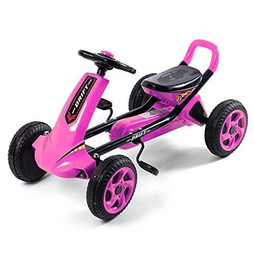 LINQ Bicicletas para niños, Karts para niños, ergonomía, vehículos de Cuatro Ruedas para el Desarrollo Cerebral y la formación de Funciones físicas, Rojo (Color : Pink)