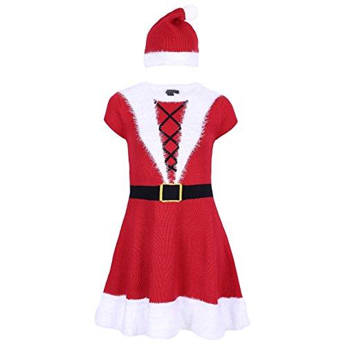 Damen Weihnachtsfrau Kostüm Weihnachten Karneval Strickkleid mit Mütze Faux Fell, Rot, 40-42 / UK 14-16 / EU 42-44