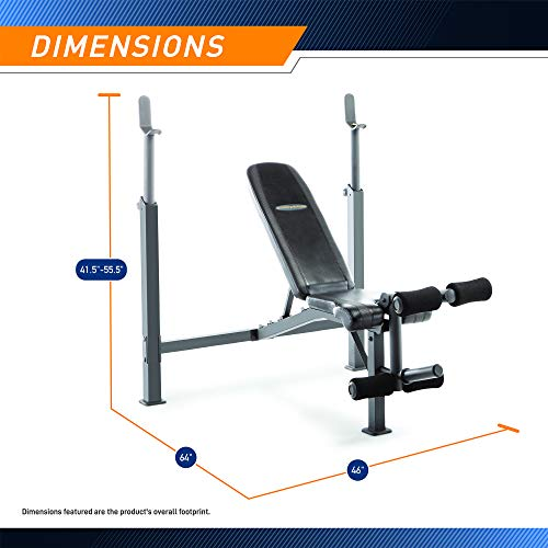 Marcy Competitor Adjustable Olympic Weight Bench with Leg Developer for Weight Lifting and Strength Training CB-729