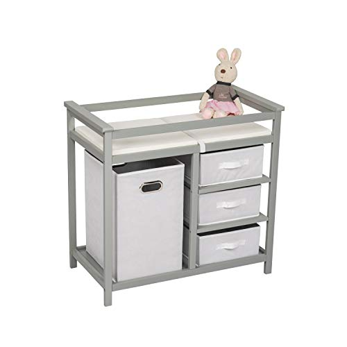 Kinbor Baby Changing Table Infant Diaper Station Nursery Organizer with Hamper and 3 Baskets