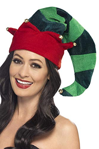 Smiffys Cappello da Elfo in peluche, Verde, con campanelli